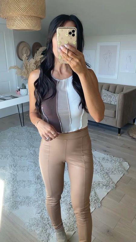 Faux leather leggings Neutral outfit Date night idea   #LTKSeasonal #LTKstyletip #LTKsalealert