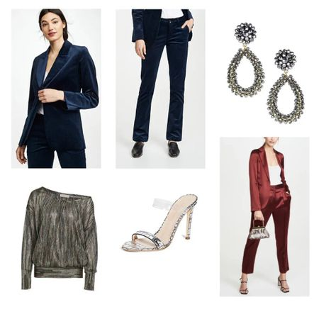 Holiday Office Party look to love. The velvet suit on #LTKholidaystyle  its own or pair it with a metallic off-the-shoulder top. http://liketk.it/2HyVO #liketkit @liketoknow.it