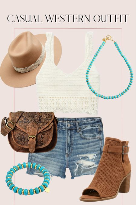 Casual western inspired summer outfit, crochet top, high waisted shorts, turquoise jewelry http://liketk.it/3ihi4 @liketoknow.it #liketkit #LTKunder50 #LTKunder100