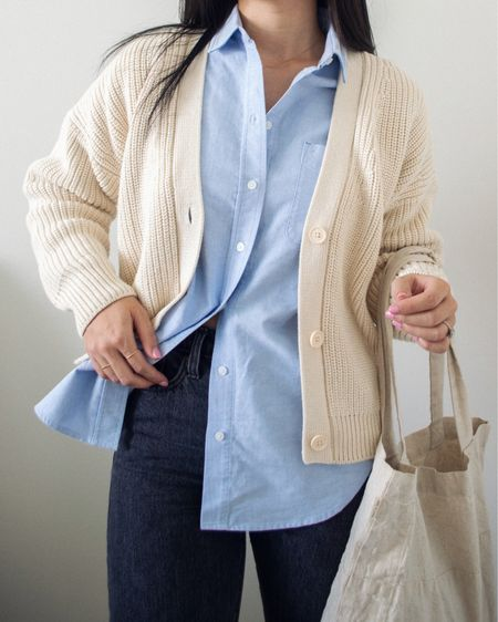 I unexpectedly love how this look turned out, with an oversized chunky cardigan layered over a relaxed Oxford shirt. An easy refreshing look, and very menswear inspired.   #LTKSeasonal #LTKunder50 #LTKstyletip