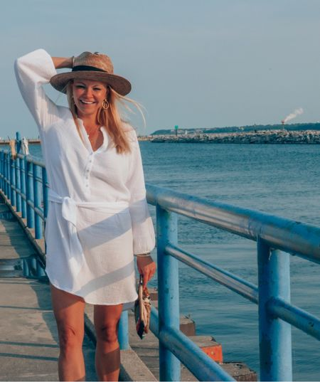 Sunset  on the water in the most comfortable, versatile white dress for Labor Day. Pack this for the beach. Cover-up to cocktails. Fits  TTS. Lightweight gauzy material. Not see through. I've worn this a ton and love it! #competition  #LTKSeasonal #LTKtravel #LTKstyletip