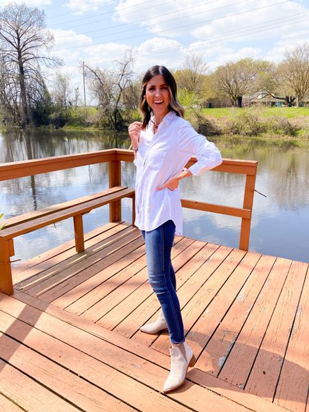The perfect white button up for spring and summer! Light weight and flowy.  Get $25 OFF with code ASHLEEHIGHTOWER   #madewelldenim  #marcfisher
