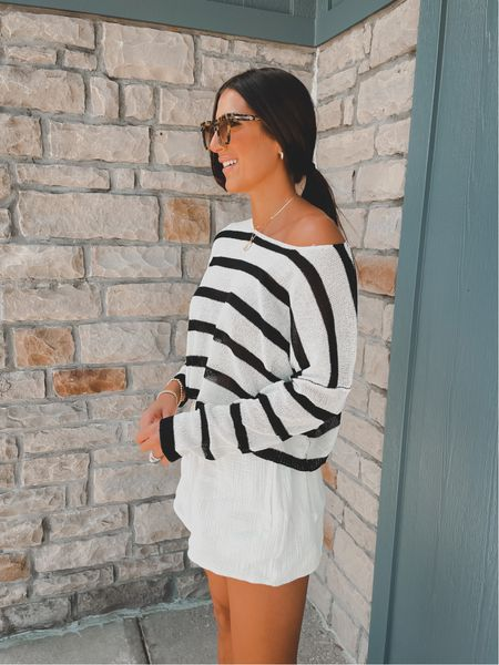 Stripe sweater for fall (wearing a medium)
