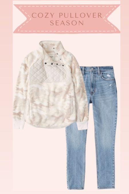 Sherpa and jeans from Abercrombie on sale   #LTKsalealert #LTKstyletip #LTKSale