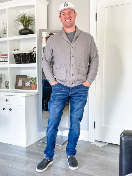 Love these men's jeans with this grey button up cardigan sweater.   #LTKmens