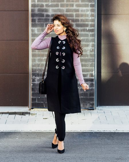 Styling my black long waistcoat with @topshopcanada frilled top on the blog right now 👉🏻#SMMarina   Shop products on http://liketk.it/2qyBK   @liketoknow.it #liketkit