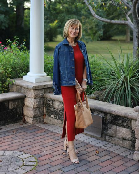 """No wrinkle travel dress with 14"""" side slits that give it feminine style! And this gorgeous red color is so flattering. Paired it with a denim jacket for a complete travel look. Fallstyle, falltrip, work style, fall fashion   #LTKstyletip #LTKtravel #LTKSeasonal"""