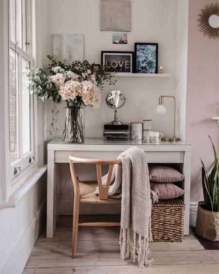 A little vanity desk corner with white desk and wooden wishbone chair http://liketk.it/2PULp #liketkit @liketoknow.it #LTKunder100 #LTKeurope #LTKhome @liketoknow.it.home @liketoknow.it.europe