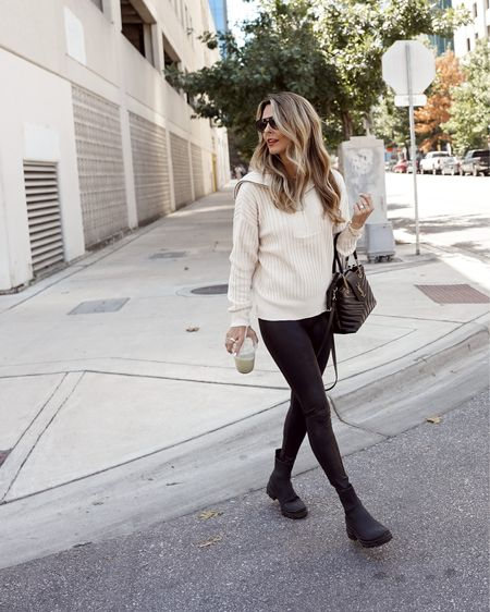 Ribbed, zip up sweater faux leather leggings, black boots Herfashionedlife Evereve Spanx  #LTKstyletip #LTKSeasonal #LTKunder100