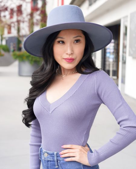 V-neck petite blue bodysuit by Misguided! Blue boater hat by Anthropologie paired with a crescent moon necklace and blue denim jeans. Blue upon blue spring look! http://liketk.it/3f4vq #liketkit @liketoknow.it