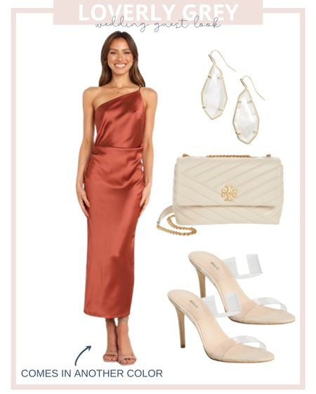 Loverly grey fall wedding guest dress look. Wear a silk midi dress with clear heels and a quilted bag.   #LTKwedding #LTKstyletip #LTKunder100