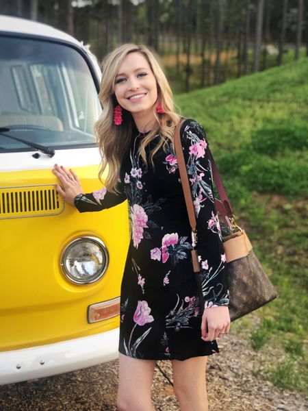 One of my very best friends got married this weekend in Georgia! She had this cute yellow VW van as a photo booth, which was such a fun touch! 💕 This dress from Nordy's was ideal for an outdoor, evening wedding. It's lightweight and airy while still looking put together. I paired it with hot pink heels and earrings for extra color! Would be so cute with black shoes and accessories for a more formal look. http://liketk.it/2AZ8n #liketkit @liketoknow.it #LTKunder100 #LTKunder50 #LTKstyletip #LTKshoecrush