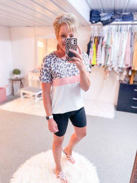 Dressy tee / Amazon promo code tee size medium / pink leopard print  / bike shorts outfit / Tory Burch dupes fit TTS / Apple Watch band marble 38-40 mm   #LTKsalealert #LTKshoecrush #LTKstyletip