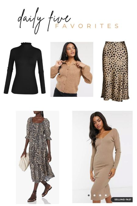 Daily Five Favorites. Women's fall fashion. Dresses. Leopard slip skirt. Black mock neck long sleeve. Cozy sweater. Cardigan. Knit sweater dress.  #LTKunder50 #LTKsalealert #LTKSeasonal