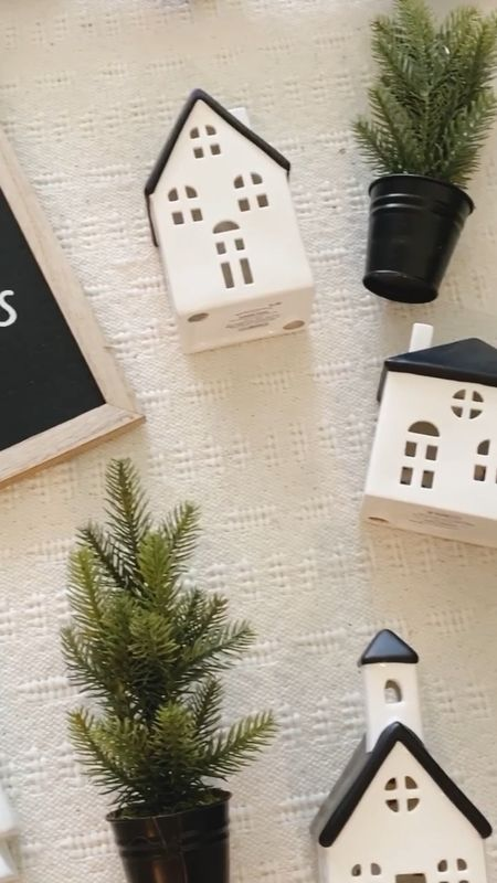 Target Christmas decor - these inexpensive pieces look great in so many places in the home!         Target Christmas , Christmas decor , home decor , holiday decor , Christmas trees , ceramic village , Christmas sign , mini trees,   #LTKunder50 #LTKhome #LTKHoliday