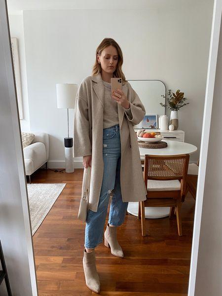 Mango beige coat, wearing a size small  Mark Fisher boots run true to size  Levi's jeans run true to size  #LTKunder100 #LTKSeasonal #LTKstyletip