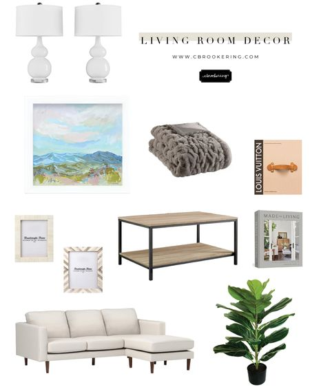 Love all of this neutral living room decor!! I always love to add greenery to my space to brighten things up a bit! This mountain print can be found on www.cbrookering.com - framed prints and artwork is the perfect way to bring color to a room!! http://liketk.it/3gLAH #liketkit @liketoknow.it