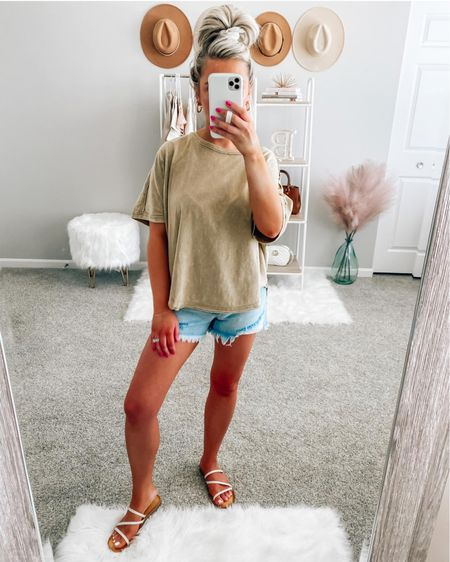 Easy Summer outfit 🌞  Tee-small Shorts-24  Sandals-fit tts (under $20) . . .  http://liketk.it/3i5jw #liketkit @liketoknow.it #LTKstyletip #LTKunder50 #LTKunder100 t-shirt, summer outfit, tee, basic tee, tan tee, denim shorts, shorts, light wash shorts, high rise shorts, sandals