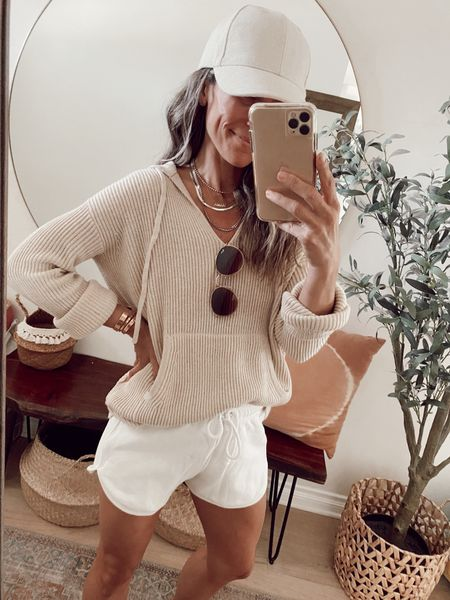 Ribbed cashmere pullover + white lounge shorts from June's capsule wardrobe //   #LTKstyletip