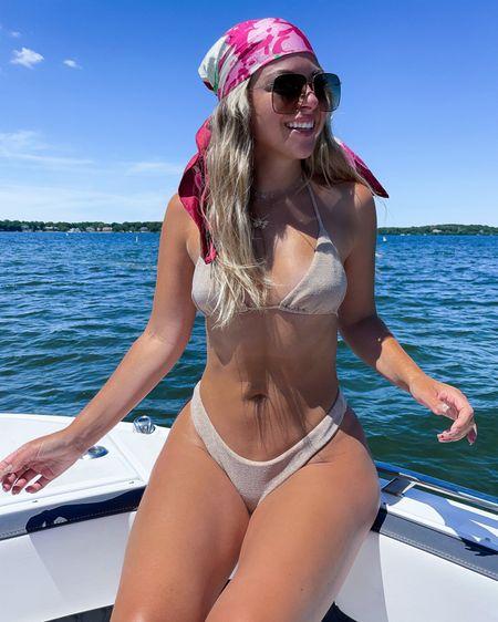 Tan nookie sparkle bikini bathing suit swimwear swimsuit gucci hair scarf and sunglasses  In my usual smalls  http://liketk.it/3i0zy  1  #liketkit @liketoknow.it #LTKswim #LTKtravel #LTKfit