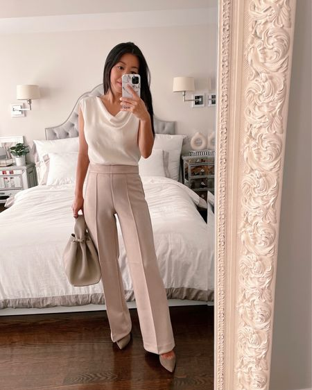 business attire for petite women // fall work outfits   •Ann Taylor trousers 00 P (runs small at the waist for AT and fits perfectly! Also linked the exact same cut in grey) •M.M. Lafleur top xs •Polene bag c/o (not linkable) •SARAH FLINT PUMPS 35.5  #petite #workwear #workoutfit  #LTKitbag #LTKSeasonal #LTKworkwear