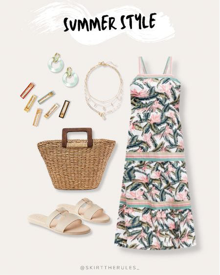 LOFT, summer outfit, beach vacation, summer style, date night outfit, casual dress, summer dress: tropical print dress, palm print dress, summer maxi dress, gold layered necklace, hair clips, barrettes, mint circle earrings, straw tote bag, straw bag, beige slide sandals. @liketoknow.it http://liketk.it/3gvx4 #liketkit   #LTKunder100 #LTKstyletip #LTKtravel