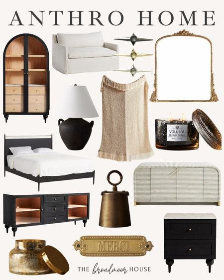 Anthropologie Home, fall Decour, kitchen Furniture, Living Harmon Furniture, Living Harmon Decor, I sideboard, waterfall consul, Bell Decor, Brass Decor, Christmas Decour, fall candles, table lamp, black Decor, chair and a half, oversized chair, neutral furniture, white chair  #LTKSeasonal #LTKstyletip #LTKhome