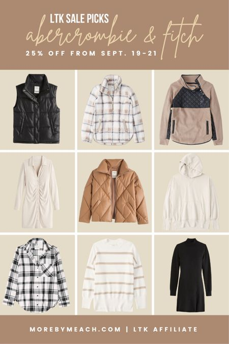The Abercrombie wardrobe essentials I'm currently obsessed with. These pieces would be great additions to a capsule wardrobe as they're chic but simple enough to remain in style. Many of them will be 25% off during the LTK sale, so save this post so you can use it to shop starting September 19th. 🤍   puffer vest, puffer jacket, plaid shirt, simple sweaters, sweaters for leggings, black dress, white dress   #LTKSeasonal #LTKSale #LTKHoliday