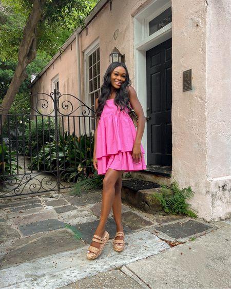 Pink Dress, Straw Sandals, Summer Dress, Summer Outfit, Gucci Bag, Charleston, Espadrilles @liketoknow.it http://liketk.it/3hyNp #liketkit #LTKshoecrush #LTKitbag #LTKunder100