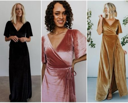 These Maxi velvet wrap dresses 🤩  Blush, black, and gold are shown here but they have so many options! @liketoknow.it #liketkit http://liketk.it/374ZH #LTKunder100 #LTKwedding  #weddingguestdress wedding guest dress, engagement photo dress