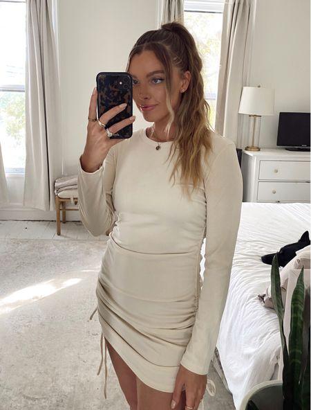 Neutral amazon finds ruched long sleeve dress  #LTKSeasonal #LTKstyletip #LTKunder50