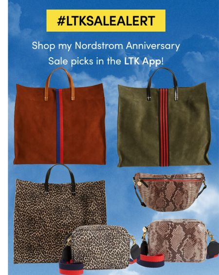 Loving the pop of color with these vibrant stripes on these simple tote bags by Clare V in the Nordstrom Anniversary Sale.  Magnetic closure  Chambray lining Leather  Interior pocket   Midi sac croc print crossbody Removable strap  Animal print   Midi sac leopard print leather crossbody bag Coloured removable strap  Leather   Grande leather croc belt bag  Adjustable belt or crossbody   #crossbodybags. #nsale #totebags   #LTKeurope #LTKtravel #LTKsalealert