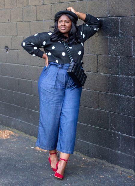 Polkadot sweater , denim trousers, Black Beret #Workwear  #LTKunder100 #LTKworkwear #LTKcurves