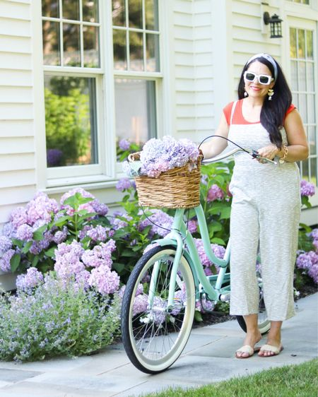 Jumper suit, beach bike cruiser, summer outfit, Fourth of July outfit, white jumper suit, romper  http://liketk.it/3iRru #liketkit @liketoknow.it