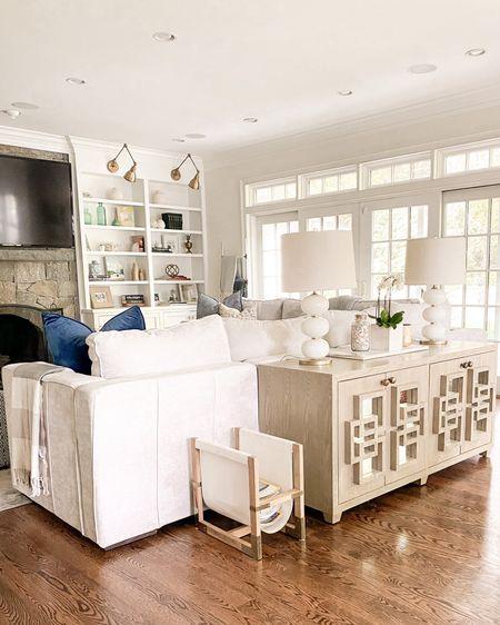 Living room, family room decor, credenza, world away, wayfair, lovesac, book shelf, white table lamp, home decor style, modern farmhouse style   http://liketk.it/3eITw #liketkit @liketoknow.it @liketoknow.it.home #LTKhome