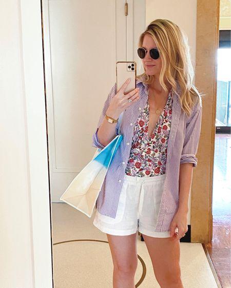 Floral deep one-piece, linen shirt, striped button up  #LTKswim