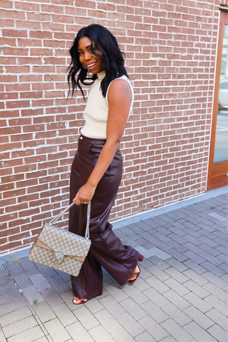 Fall fashion outfits! Love these faux leather pants so much. They are super long though - I'm 5'8   #LTKSeasonal
