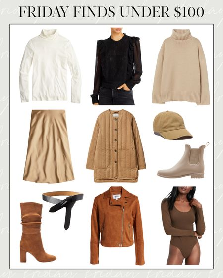 This week's finds under $100! Follow along on Instagram (@natalie.yerger) to see and shop them first every single Friday this fall. Details below!  1. Tissue Turtleneck from J.Crew—Available in more colors. 2. Black Blouse—The detailing (zoom in!) makes it look designer. 3. H&M Sweater—I usually love the quality of their sweaters, and I think this will sell quickly. 4. J. Crew Slip Skirt—Comes in 5 colors! 5. Everlane jacket—Just ordered this to dress up or down this fall. 6. Baseball Cap—My favorite cap is back in fall tones! 7.  Chelsea Rain Boots—Come in taupe, olive, and black. 8. Isabel Marant Belt Dupe—Original is $160, this is $49! 9. Suede Boots— Come in taupe and black as well! 10. Suede Moto—Pair with a skirt, turtleneck, and boots for family photos. 11. Bodysuit—Comes in 11 colors, so there's something for every skin tone!