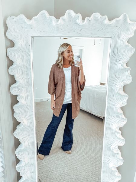 Casual fall outfit Fall basics Amazon finds sweater flare jeans mules   #LTKSeasonal #LTKstyletip #LTKunder50