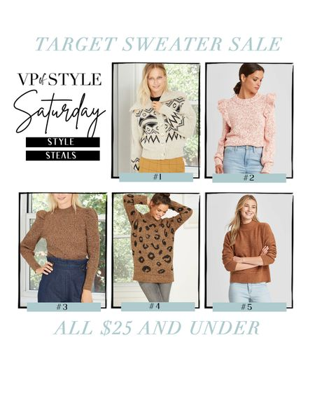 Saturday style steal picks. These sweater from Target are all on sale and all under $25! All would be perfect for thanksgiving no matter your plans! http://liketk.it/31Nqg #liketkit @liketoknow.it #LTKsalealert #LTKunder50 #LTKstyletip