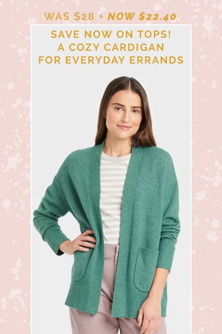 20% Off Women's Tops includes this soft green open cardigan sweater!  #targetstyle #targetdeals #targetfind