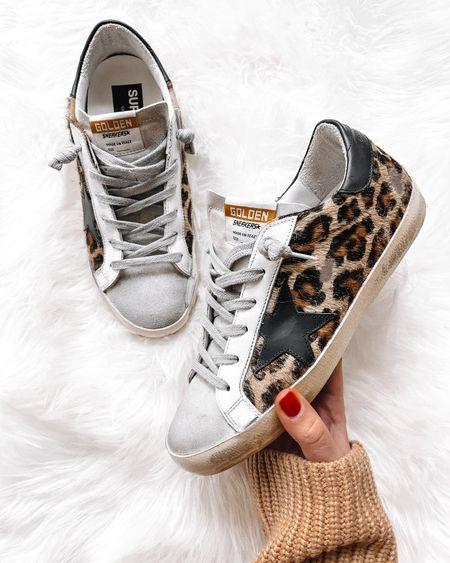 My leopard golden goose sneakers on sale! Fit tts and so good for fall #goldengoosesneakers #goldengoose  #LTKsalealert #LTKshoecrush #LTKstyletip