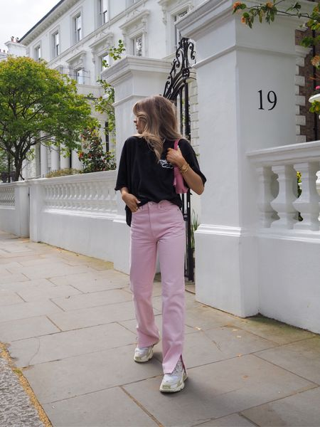 These pink weekday Rowe jeans are my new favourites for the spring summer! I've teamed them with a boys lie oversized tee, pink prada nylon bag and my balenciaga triple s sneakers     #LTKSeasonal #LTKeurope