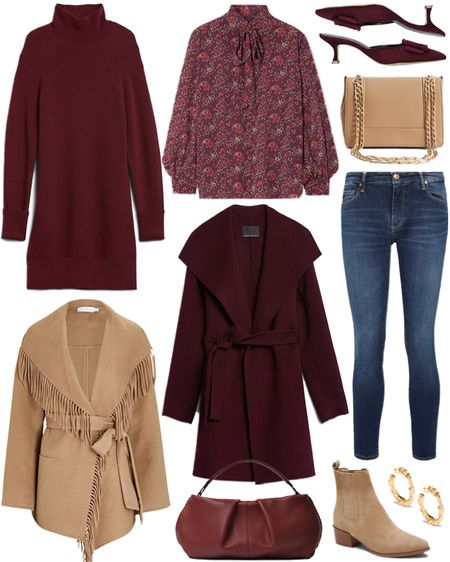 Sharing some style staples for the fall/winter season! Pair burgundy with warm neutrals for an instantly chic daytime look👌🏼   #tssedited #thestylescribe #autumn #coats #fallstyle #sweaters #styleinspo #staples  #LTKSeasonal #LTKstyletip