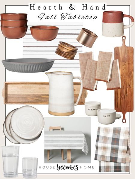 Hearth & Hand fall tabletop items!  Tablescape, fall decor, kitchen decor, kitchen table, pitcher, charcuterie, dishes, mug, table runner, Target decor, Target Home, Target style   #LTKGiftGuide #LTKunder50 #LTKhome