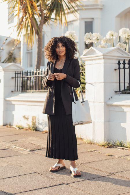 Black knitted dress and blazer blazer with white sandals and white bucket bag. Monochrome Autumnal look.   #LTKstyletip #LTKSeasonal #LTKeurope
