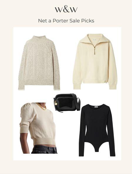 Net a Porter sale picks  Cozy sweaters Half zip pullover Cropped sweater Bodysuit Crossbody bag Fall style Fall outfit   #LTKSeasonal #LTKsalealert