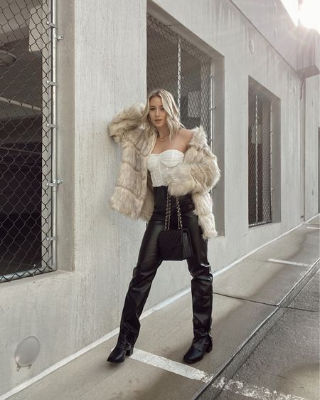 Holiday outfit ideas http://liketk.it/33TB3 @liketoknow.it #liketkit #LTKstyletip Holiday outfits, NYE outfit ideas, NYE, faux leather pants, winter outfits, faux fur winter coat