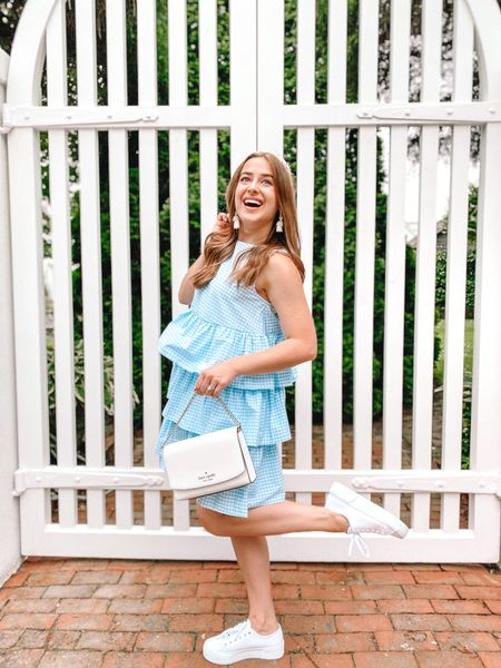 Gingham dress. Target style. Wedding guest dress. Gender reveal dress. White sneakers. Platform sneakers. White purse. Kate Spade outlet purse. White earrings. Pink lily earrings.   #LTKstyletip #LTKunder50 #LTKSeasonal