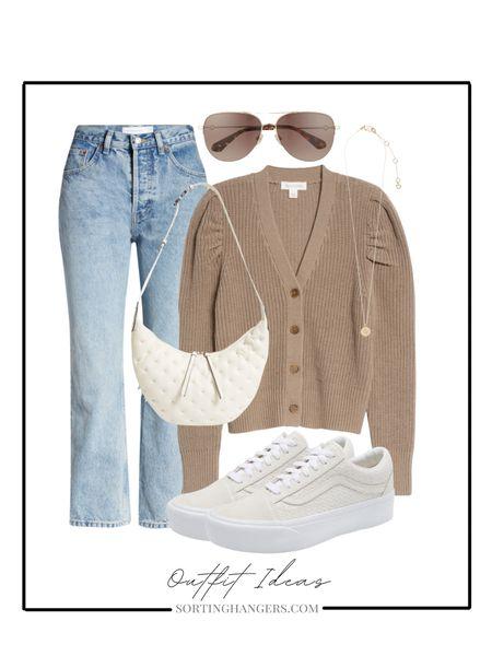 Nordstrom Anniversary Sale Picks | Outfit Ideas | sweater cardigan | mom jeans | sneakers | baguette | aviator sunglasses | initial necklace   Shop my daily looks by following me on the LIKEtoKNOW.it shopping app   #LTKunder100 #LTKsalealert #LTKstyletip #liketkit http://liketk.it/3jbTs @liketoknow.it